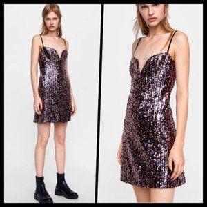 Zara Sequin Mini Party Dress Spaghetti Strap